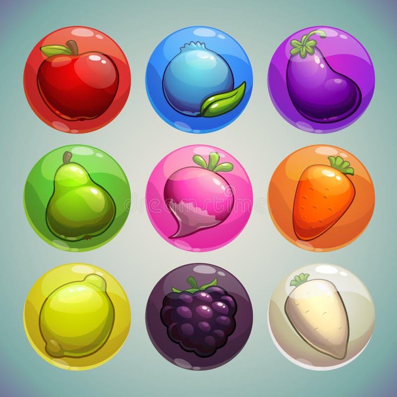 Grupo de bolhas coloridas com frutas e legumes ilustração stock