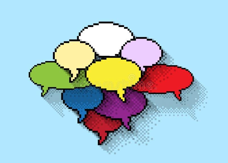 Grupo de bolhas coloridas dos pixéis imagem de stock