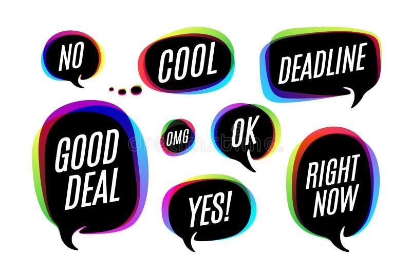 Grupo de bolhas, de ícones ou de conversa colorida da nuvem com texto ilustração stock