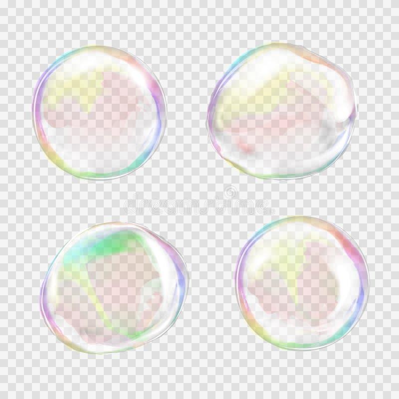 Grupo de bolhas de sabão transparentes coloridos ilustração do vetor