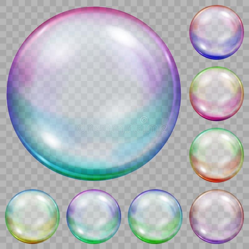 Grupo de bolhas de sabão transparentes coloridos ilustração stock