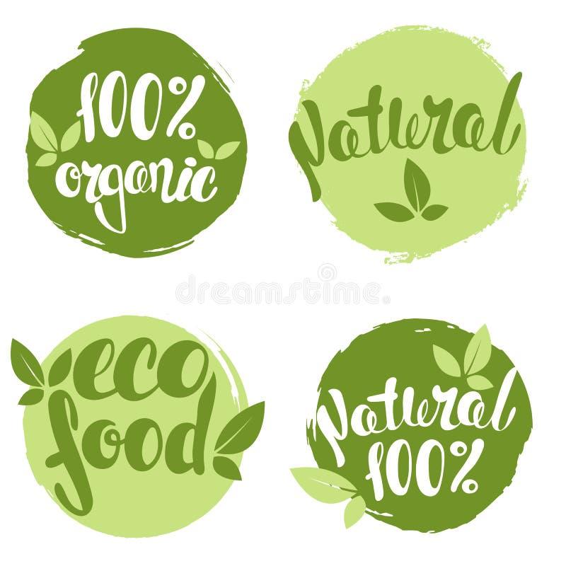 Grupo de bolhas, etiquetas, etiquetas, etiquetas com texto 100% natural, 100% orgânico, alimento do eco ilustração stock