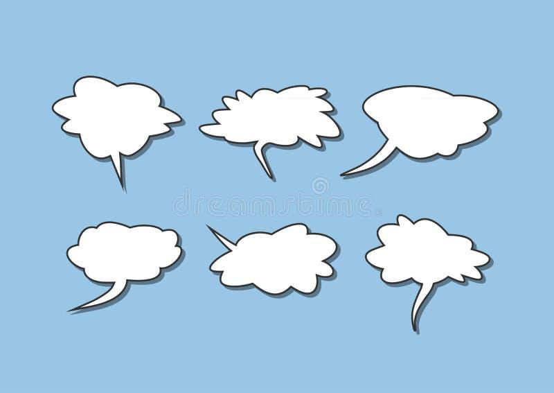 Grupo de bolhas isoladas do discurso Coleção de elementos cômicos ilustração stock