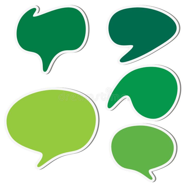 Grupo de bolhas verdes do discurso da etiqueta ilustração stock