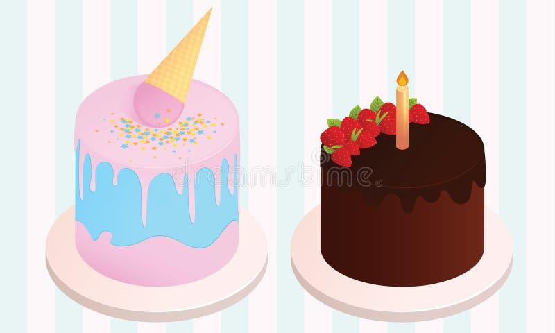 Grupo de bolos de aniversário Elementos da festa de anos Bolo do gelado e bolo de chocolate com morangos e vela ilustração do vetor