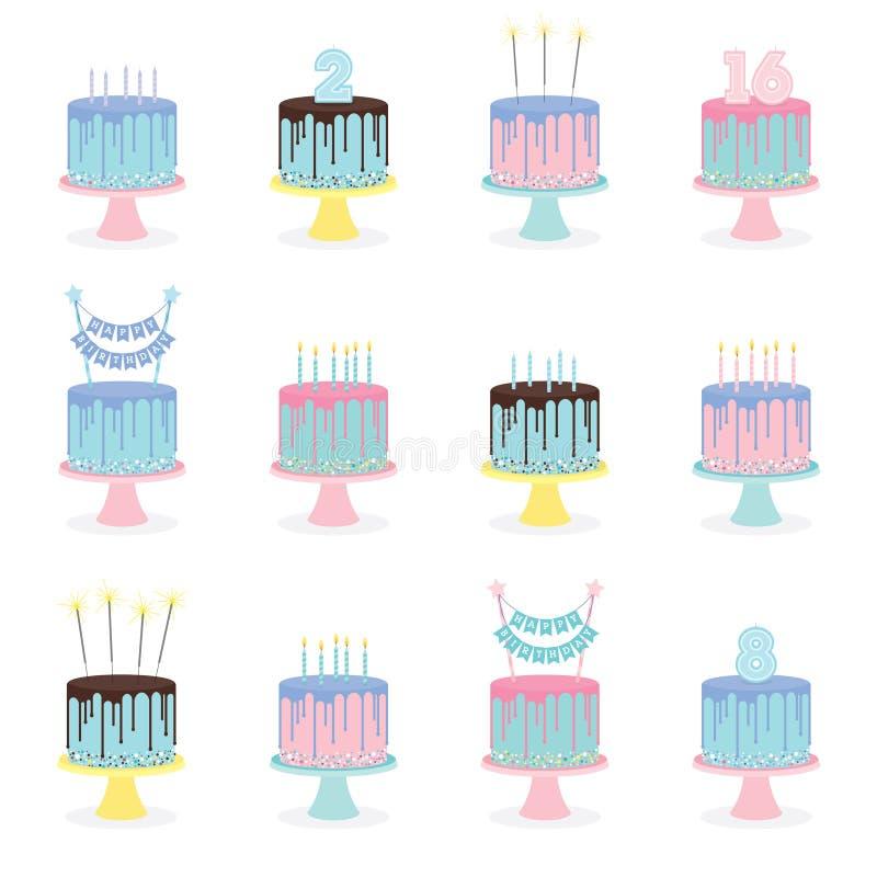 Grupo de bolos de aniversário com velas e decoração ilustração royalty free