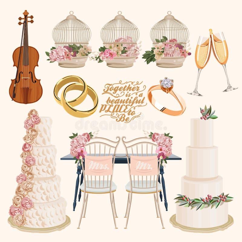 Grupo de bolos de casamento decorados coloridos da camada do vetor, anéis dourados, champanhe, joia, pilha ilustração do vetor