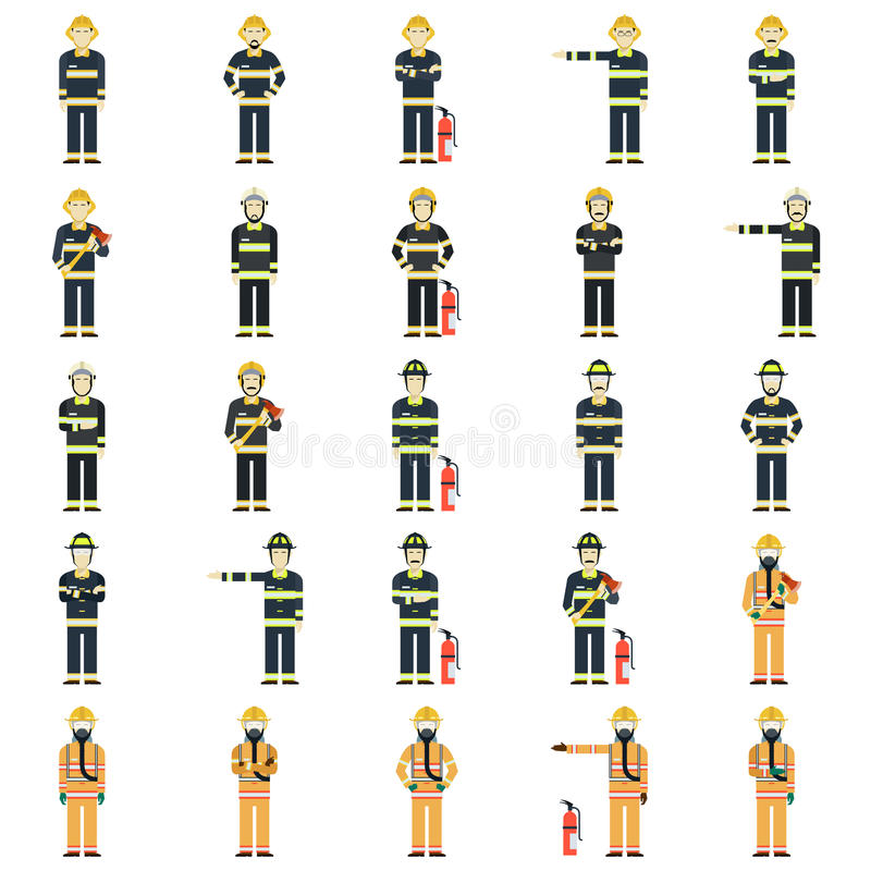 Grupo de bombeiros ilustração stock