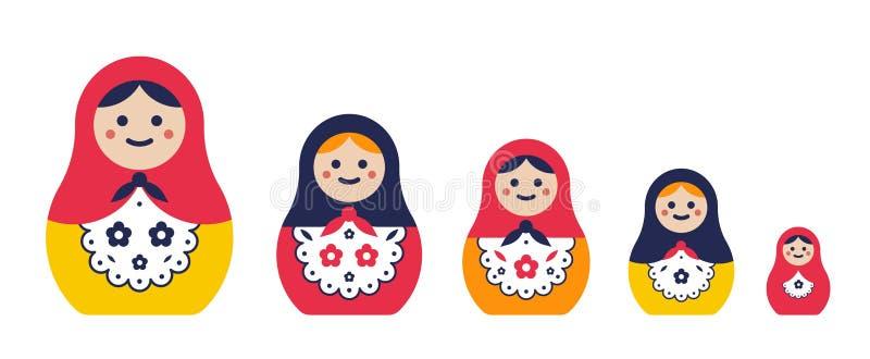 Grupo de boneca tradicional do assentamento Matryoshkas coloridos simples de tamanhos diferentes Ilustração lisa do vetor ilustração do vetor