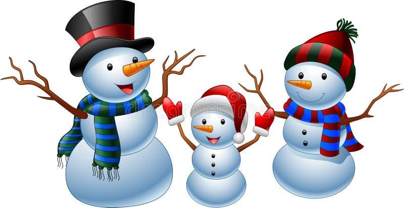 Grupo de boneco de neve dos desenhos animados ilustração stock