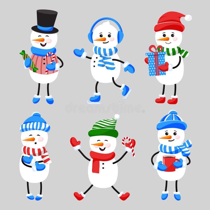 Grupo de bonecos de neve de sorriso dos desenhos animados no chapéu, lenço, luvas, patins ilustração do vetor