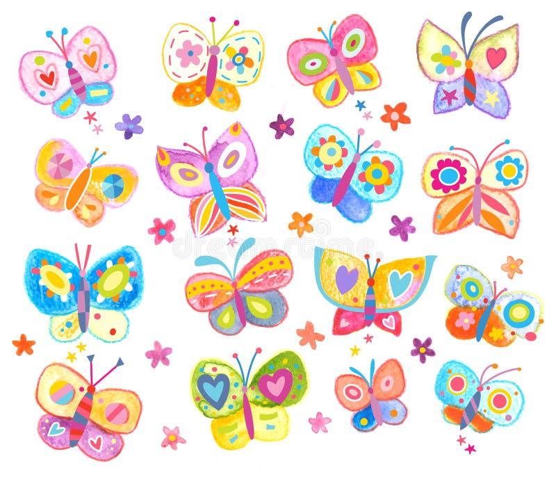 Grupo de borboletas coloridas adoráveis ilustração do vetor