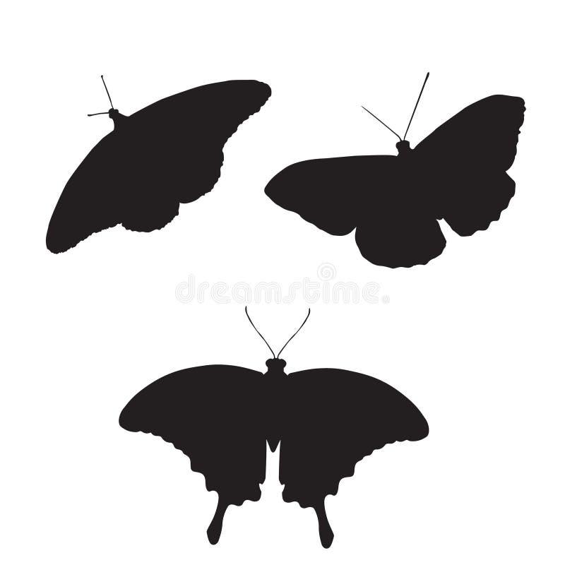 Grupo de borboletas do vetor silhueta de três borboletas ilustração stock