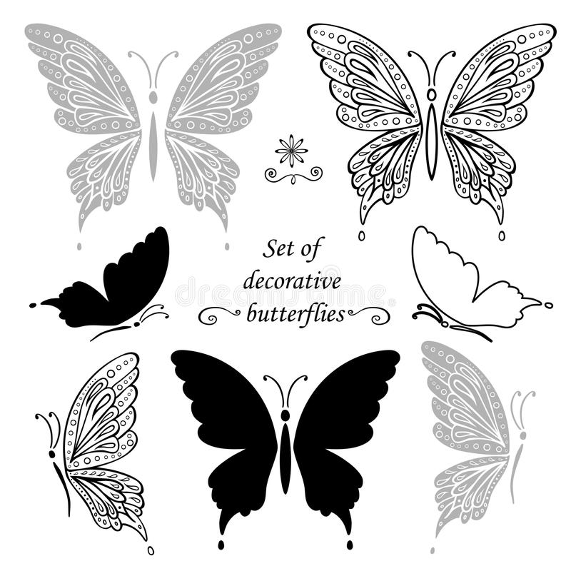 Grupo de borboletas e de elementos decorativos, desenho da mão ilustração royalty free