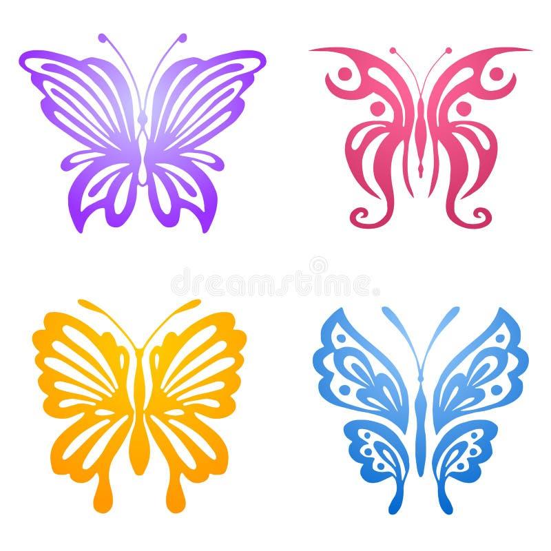 Grupo de borboletas para a tatuagem ilustração stock