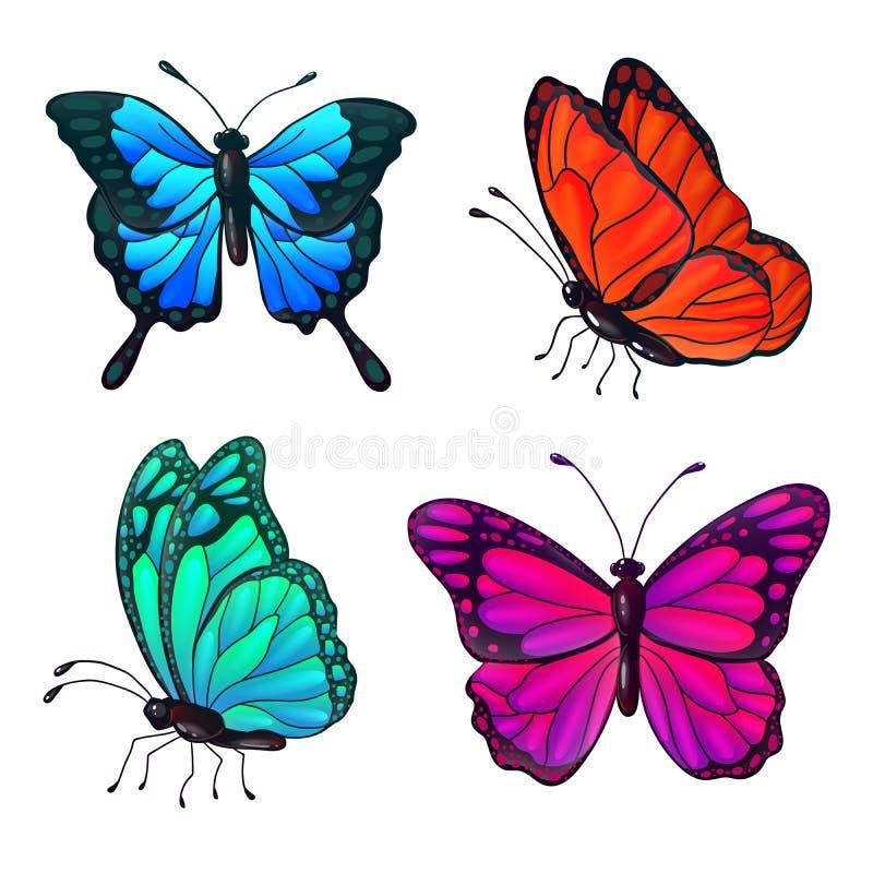 Grupo de borboletas realísticas coloridas ilustração stock
