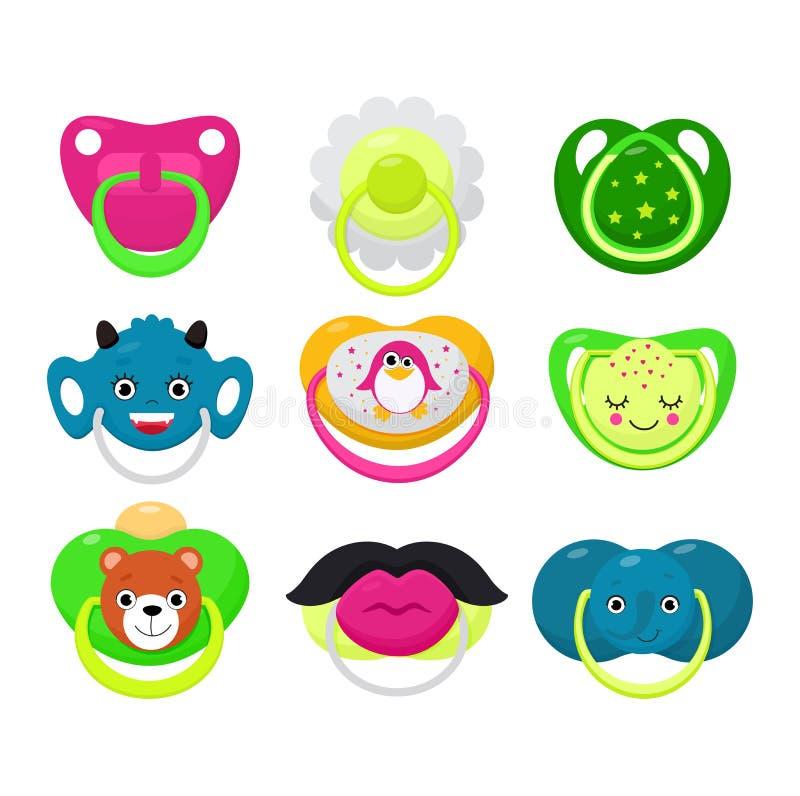 Grupo de borracha da ilustração do bocal da criança do soother do bebê do vetor da chupeta e do bocal das crianças de cobertor do ilustração royalty free