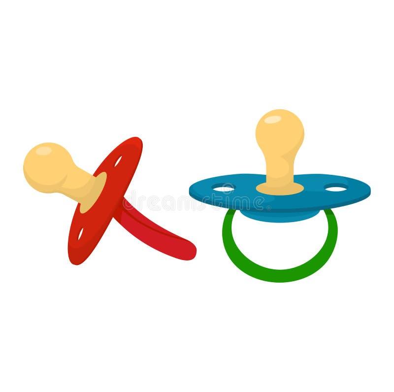 Grupo de borracha da ilustração do bocal da criança do soother do bebê do vetor da chupeta e do bocal das crianças de cobertor do ilustração do vetor