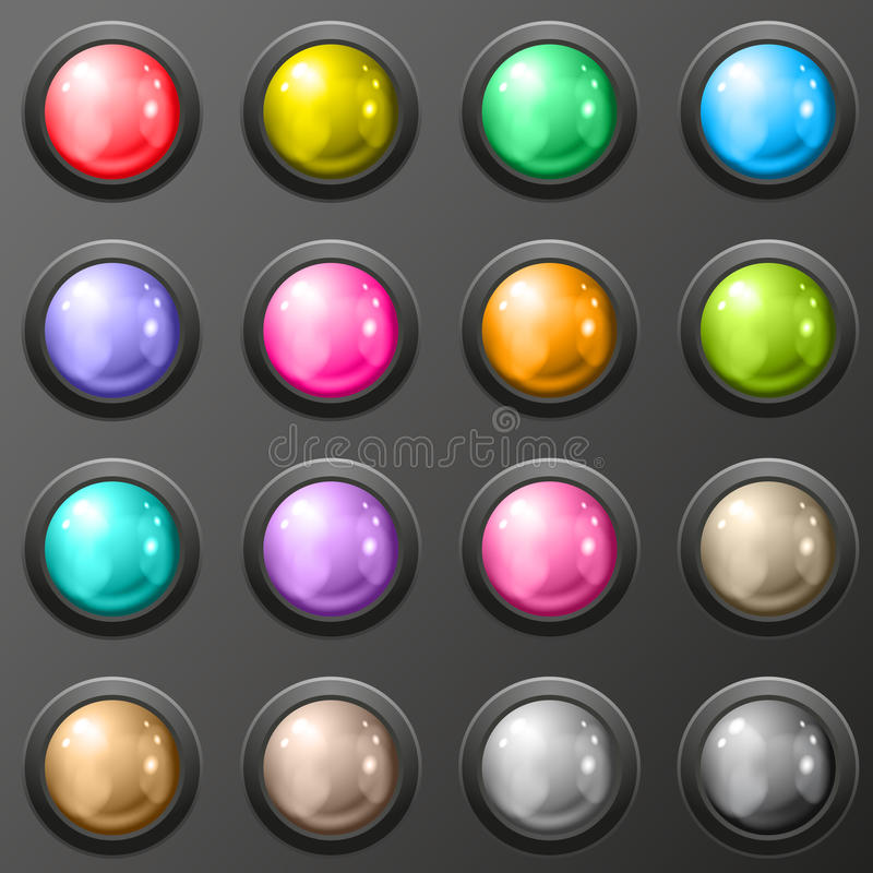 Grupo de botão lustroso para aplicações web. ilustração do vetor