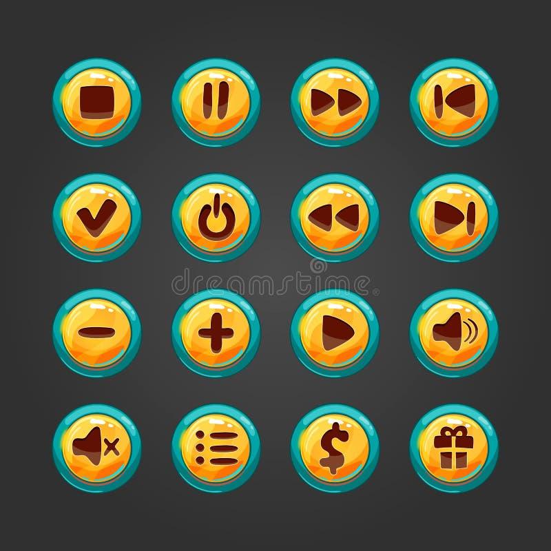 Grupo de botão para o jogo design-1 ilustração royalty free