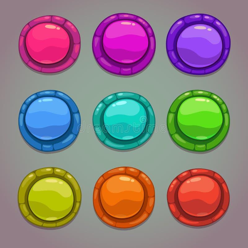 Grupo de botões coloridos redondos dos desenhos animados ilustração royalty free