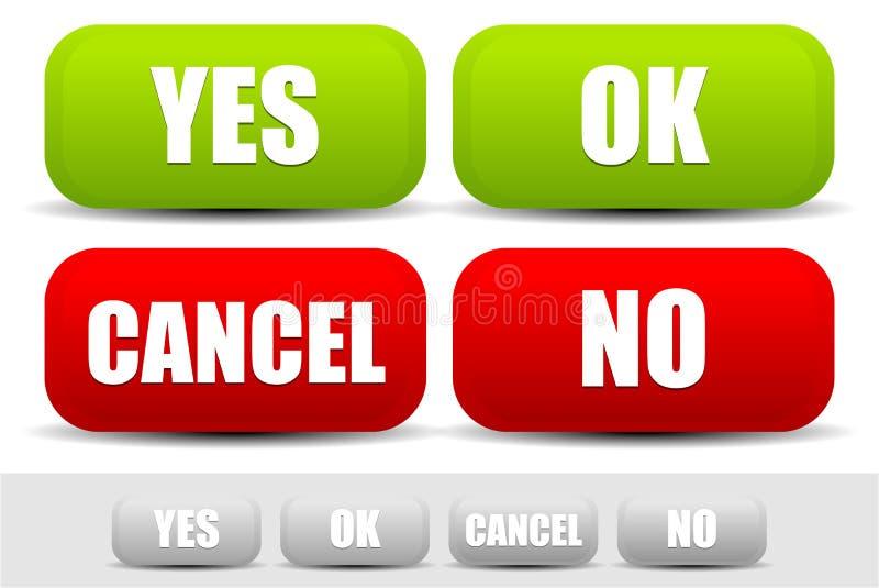 Grupo de botões com palavras sim, está bem, cancelamento, não Botões para o confi ilustração do vetor