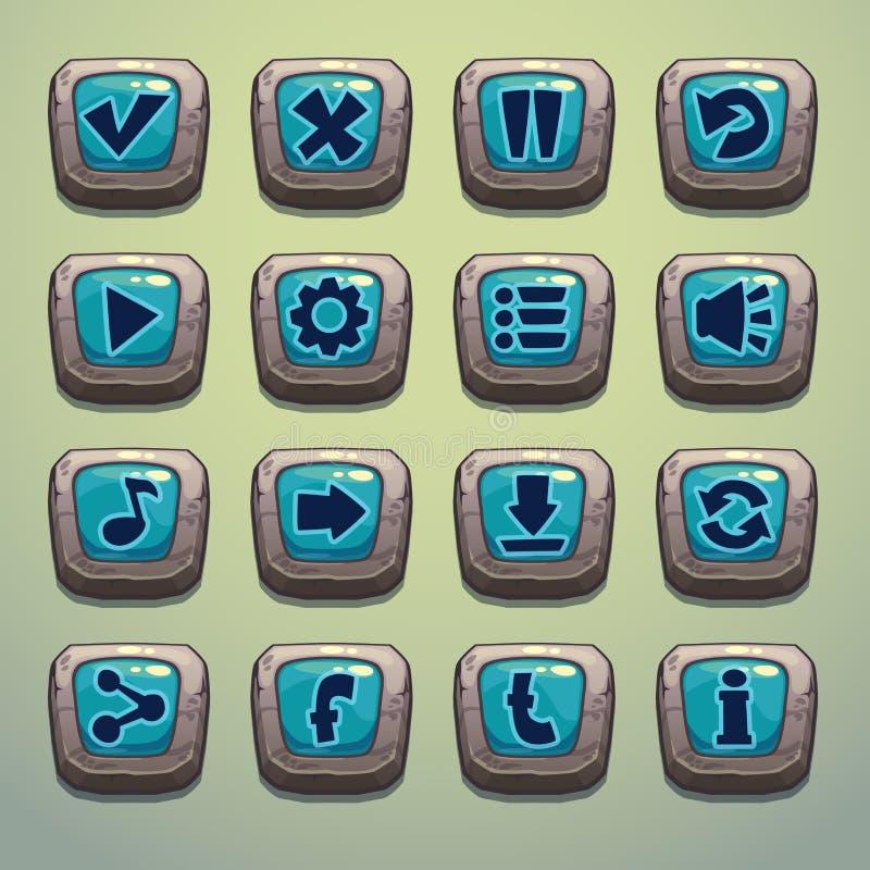 Grupo de botões da pedra dos desenhos animados ilustração do vetor