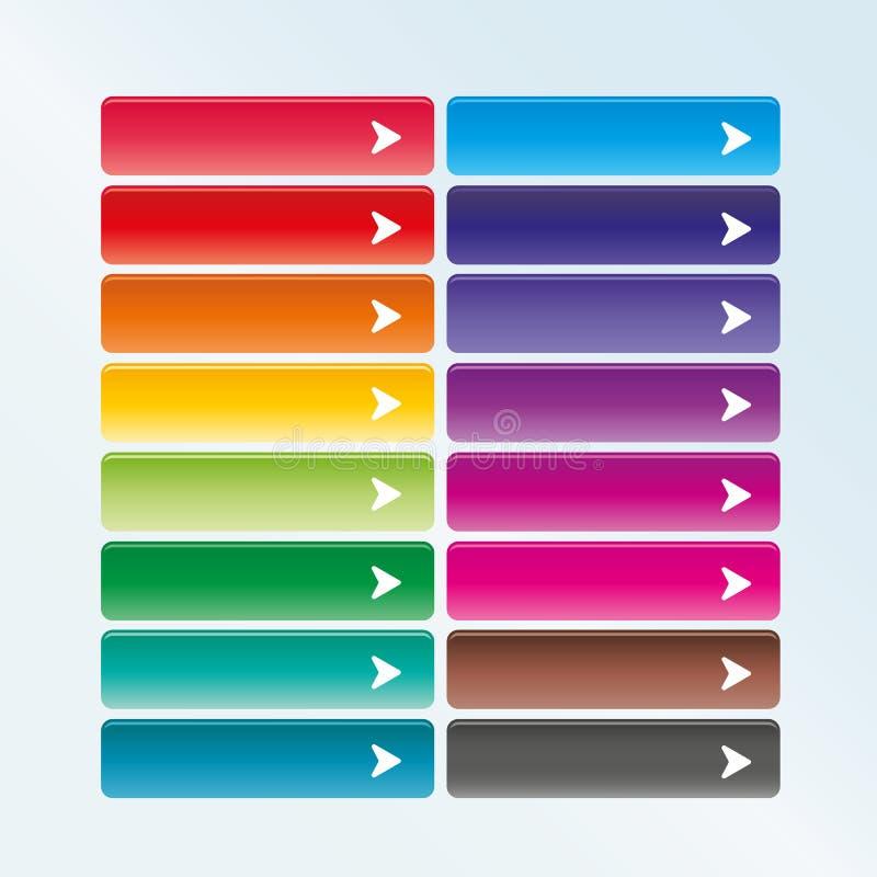 Grupo de botões da Web com seta ilustração stock