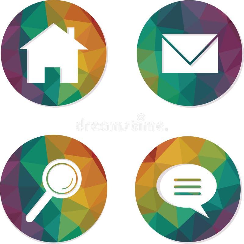 Grupo de botões da Web da hippie do arco-íris Casa, email, busca, ícones do bate-papo ilustração do vetor