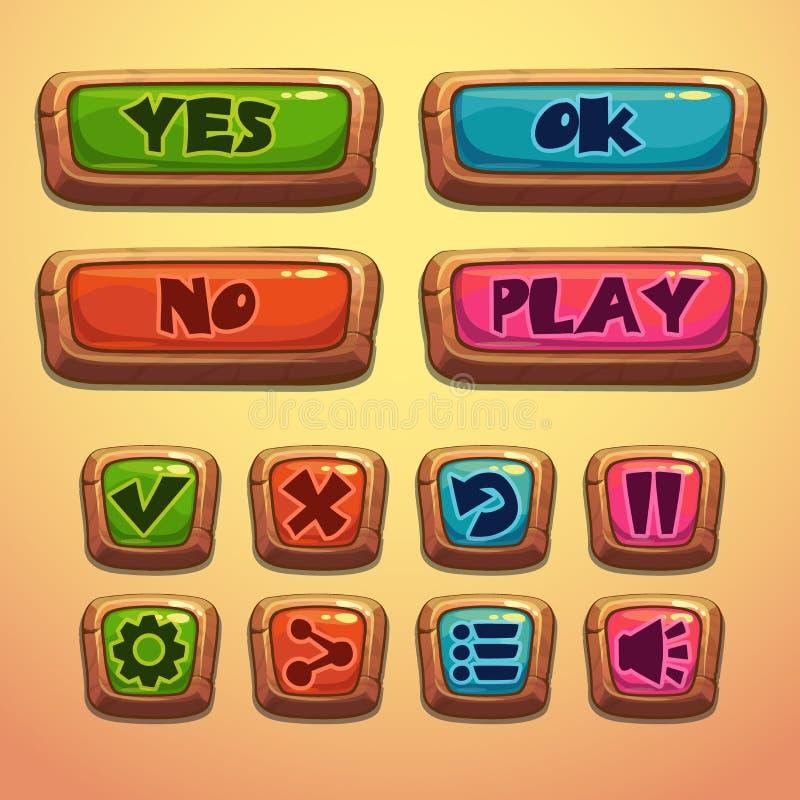 Grupo de botões de madeira dos desenhos animados ilustração do vetor