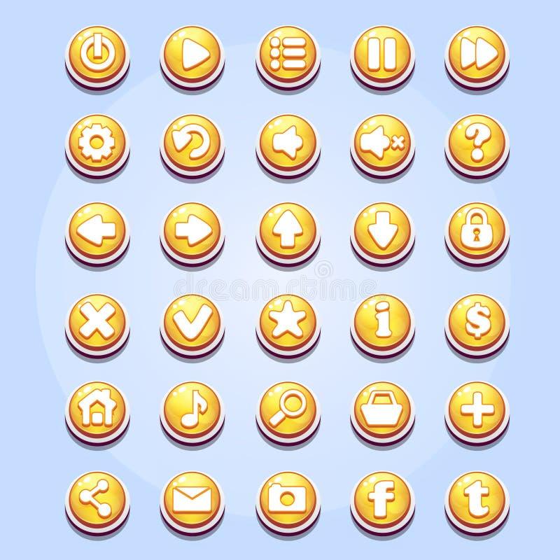Grupo de botões diferentes para o dia de Valentim de jogos de computador ilustração royalty free
