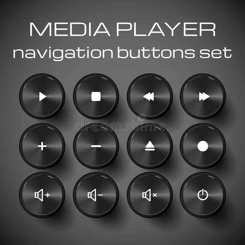 Grupo de botões do controle dos meios. ilustração stock