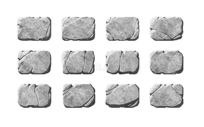 Grupo de botões e de elementos de pedra realísticos ilustração stock