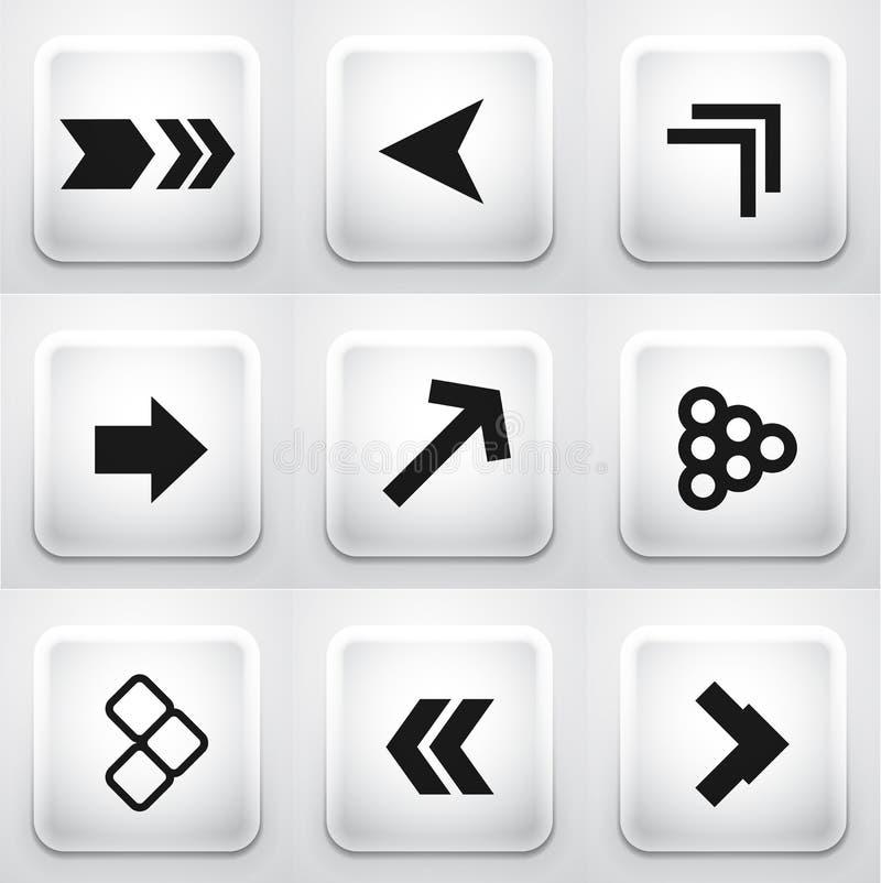 Grupo de botões quadrados da aplicação: setas ilustração royalty free
