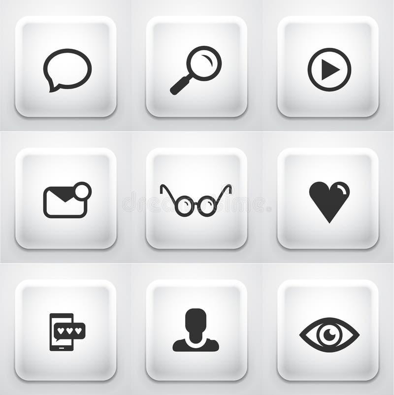 Grupo de botões quadrados da aplicação: Web ilustração royalty free