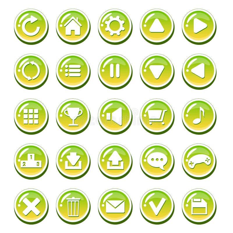 Grupo de botões vítreos do verde amarelo para relações (relação do jogo, interface de utilizador do app) ilustração royalty free