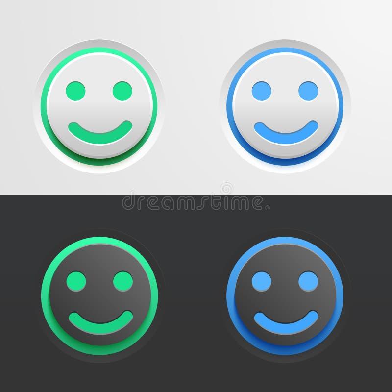 Grupo de botões verdes e azuis sob a forma de um Emoji de sorriso no fundo claro e escuro ilustração para a relação ilustração do vetor