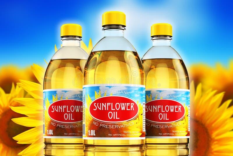 Grupo de botellas plásticas con aceite de semilla de girasol libre illustration