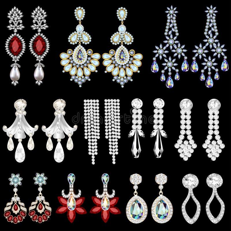grupo de brincos da joia com pedras preciosas ilustração royalty free