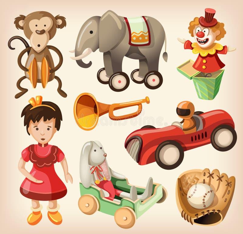 Grupo de brinquedos coloridos do vintage para crianças. ilustração do vetor