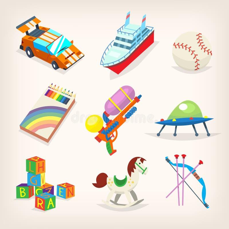 Grupo de brinquedos coloridos para jogos das crianças Presentes por feriados das crianças ilustração do vetor