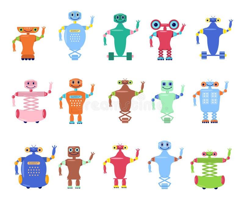Grupo de brinquedos dos robôs ilustração royalty free