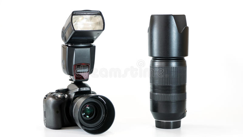 Grupo de cámara digital con la lente y el flash foto de archivo