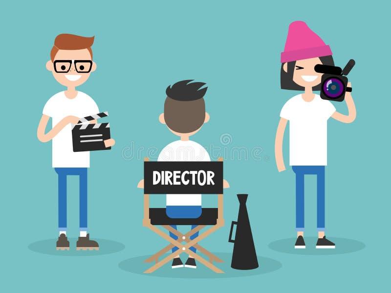 Grupo de câmera: diretor, operador cinematográfico e assistente trabalhando no SE ilustração royalty free
