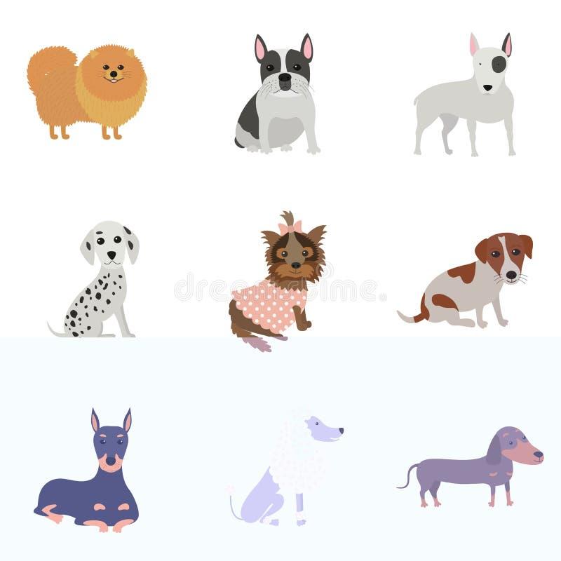 Grupo de cães de raças diferentes ilustração do vetor