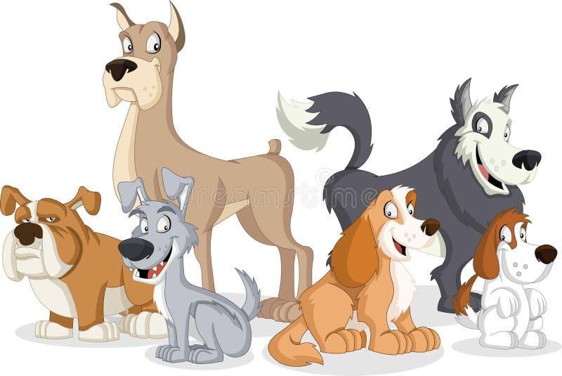 Grupo de cães dos desenhos animados ilustração royalty free