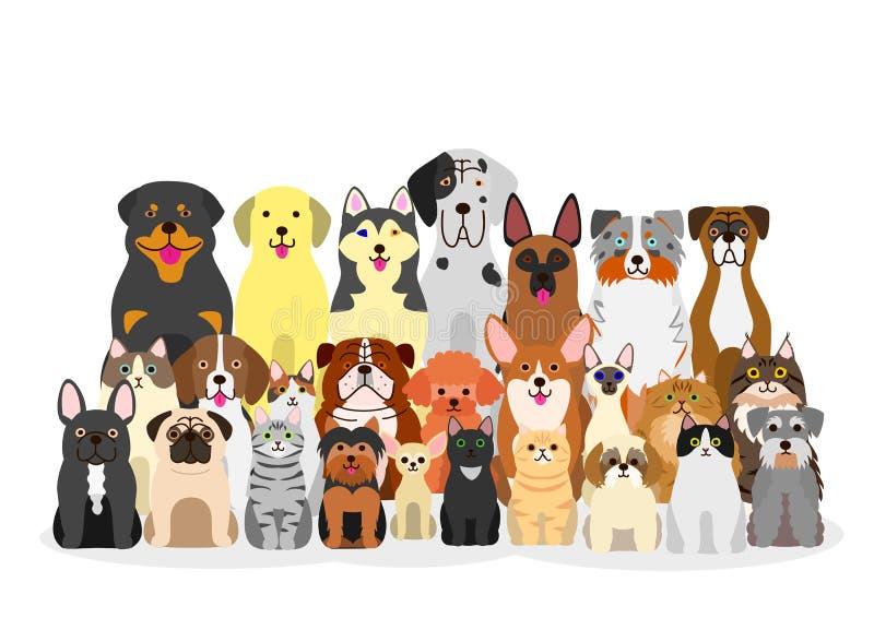 Grupo de cães e gato ilustração stock