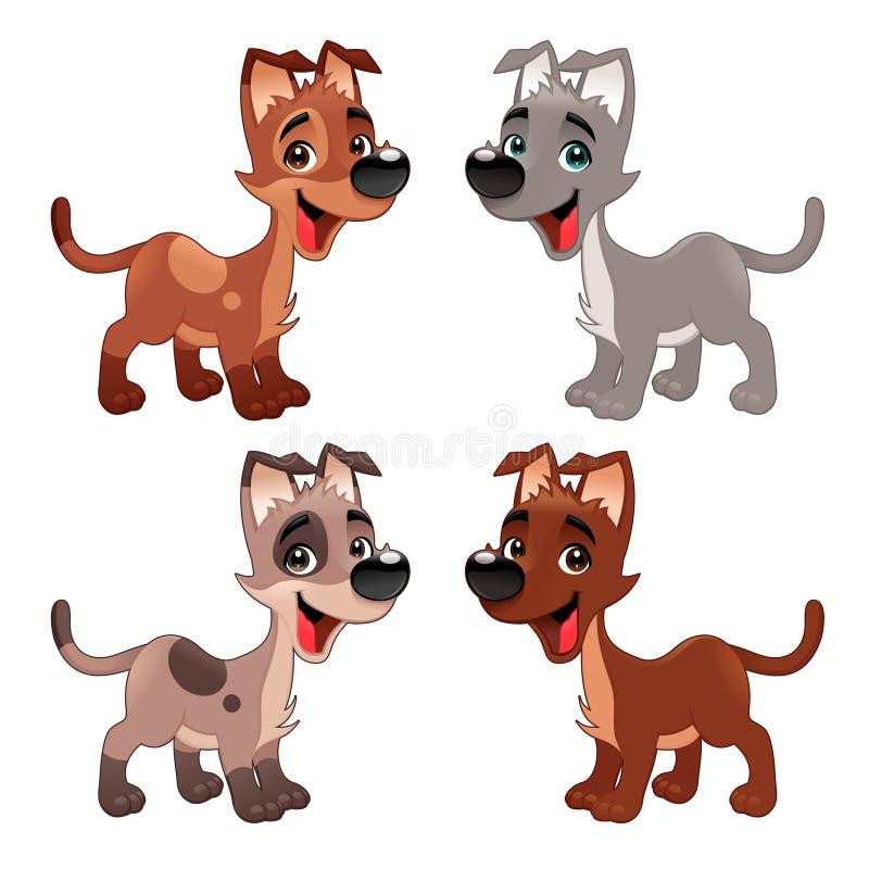 Grupo de cães engraçados. ilustração royalty free