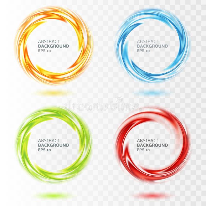 Grupo de círculo abstrato do redemoinho em transparente ilustração stock