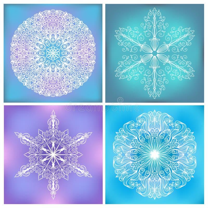 Grupo de círculo Lacy Patterns ilustração stock
